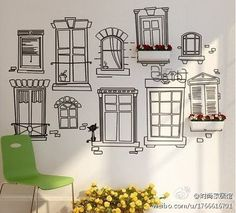 DIY doodle wall. I would see this painted on the wall to the basement.