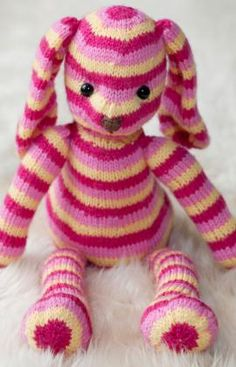"Hop Along Bunny - Free Knitting Pattern PDF Format - Click ""Download Printable Instructions"" here: http://www.redheart.com/free-patterns/hop-along-bunny#.T4S7yNFc_Mc.pinterest"