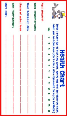 Wolf Achievement 3a: Make a chart and keep track of your health habits for two weeks