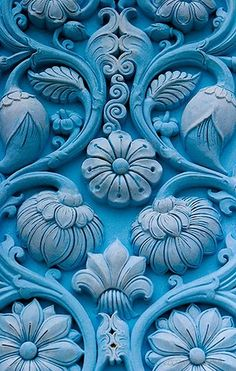 cores / Turquoise Blue Door with Delicately Carved Floral Motif Blue Green, Blue And White, Purple, Color Blue, Teal, Blue Art, Periwinkle, Magenta, Yellow