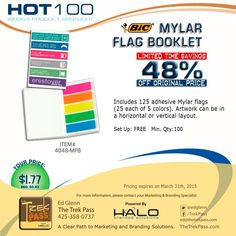 Let's face it, shredded bits of Post-It's don't look very professional. #DocumentFlags come in handy almost everywhere. Your message in full color on the cover of these flag booklets will make a memorable impression. #promoproducts #branding #promotionalproducts #realestatehelp #marketing #officesupplies #advertising #tradeshow #gift #adspecialties #sale #bestseller #Halobrandedsolutions