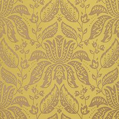 Luxembourg Damask #wallpaper in #metallic on #green from the Residence collection. #Thibaut