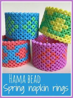 Hama bead Spring napkin rings craft, really simple and great to brighten up a Spring picnic Creative Arts And Crafts, Easy Crafts For Kids, Craft Kids, Yarn Crafts, Bead Crafts, Diy Crafts, Easter Crafts, Easter Ideas, Beaded Napkin Rings