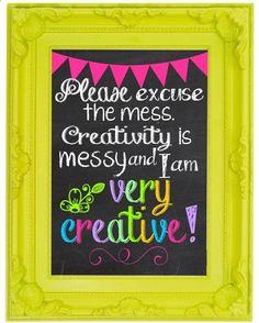 Creativity is Messy Chalkboard Wall Art Craft Room Decor Digital Printable 8x10 via Etsy