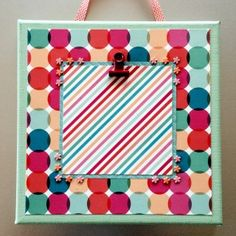 Colored Stretched Canvas 8X8 turquoise/pink/stripes/dots