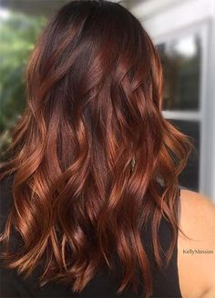 Badass Red Hair Colors: Auburn, Cherry, Copper, Burgundy Hair Shades, copper hair color for auburn ombre brown amber balayage and blonde hairstyles Hair Color For Black Hair, Cool Hair Color, Red Brown Hair Color, Reddish Brown Hair, Dark Hair With Red, Red Hair For Fall, Colour Melt Hair, Red Hair Dark Roots, Cinnamon Brown Hair Color