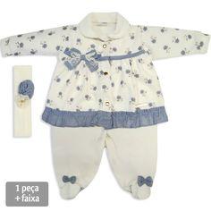 Compre macacão para bebê menina de inverno, da Sonho Mágico. Com um estilo super romântico e delicado e toque super macio. R$ 108,00 em 3x sem juros. Cru