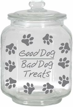 Housewares International Extra Large Clear Glass Dog Treats Jar with Glass Lid, Round, Saying Good Dog/Bad Dog Treats by International Housewares Corp. $18.99. Dishwasher safe. Glass; with saying good dog/bad dog treats. Extra large 260-ounce capacity 8.6 by 8.6 by 13.2-inch. You love your dog - and your dog loves treats. Now you can store and serve their favorite dog treats and snacks in style while keeping it dry, fresh, moisture-proof and pest-free. Attractive, high-quality ...