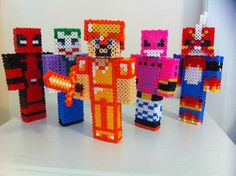 Minecraft skins perler beads (Deadpool, Flamedramon, Joker, Majin buu and Steve in gold armour) by Rest-In-Pixels on deviantART Perler Beads, Fuse Beads, Pixel Art, Creeper Minecraft, Minecraft Skins, Nerd Crafts, 3d Figures, Hama Beads Minecraft, Iron Beads