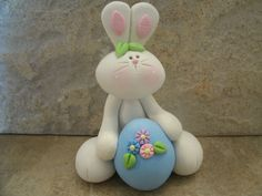 """Easter Bunny and Egg*polymer clay* * bunny stands* 3"""" tall.Secure all parts with liquid polymer for increased strength and lightly glaze with a satin glaze."""