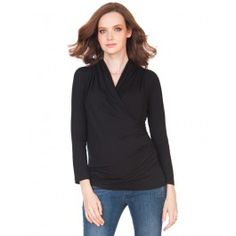 Ruched Cross Over Top Black