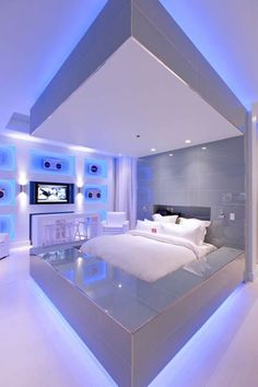 I like the colors and the future looking design. Im bringing in my bedset from home so thats $Free but the walls included might cost like $50 Futuristic Bedroom, Futuristic Interior, Awesome Bedrooms, Cool Rooms, Awesome Beds, Beautiful Bedrooms, Dream Rooms, Dream Bedroom, Bedroom Wall
