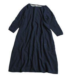 45R Online StoreOnline Originalインディゴ裏毛馬比古ワンピース: Lady's