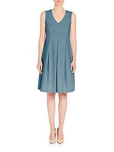 Peserico Poplin Pleated Dress - Blue - Size