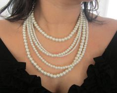 Couture Pearl Statement Necklace Multi Strand by lolaandmadison