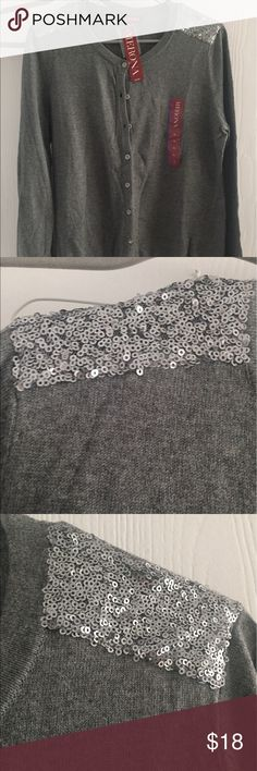 Grey sequin Cardigan Gorgeous silver sequin shoulder Cardigan, brand new with tags and metal buttons! Super cute for summer or fall! Merona Sweaters Cardigans