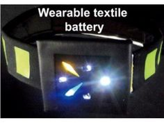 Solar-powered battery woven into fabric from the energy harvesting journal.
