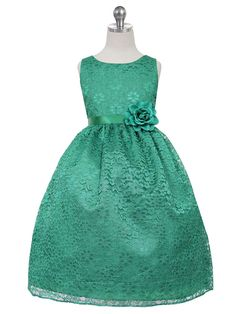 Solid Lace Dress with Satin Sash