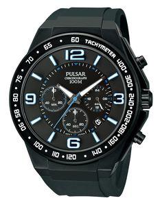 Pulsar PT3405 Men's Watch Black Stainless Steel Blue/White Accents