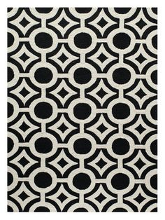 Geo 22 Hand-Hooked Rug from Black