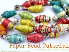 Make some beautiful and EASY Paper Beads! www.papervinenz.com