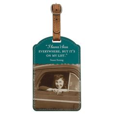 Whether you're jetting off on business or visiting family, travel in personalized style with this leatherette luggage tag, featuring a playful quote.
