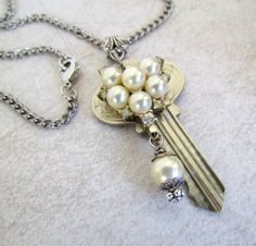 Repurposed Key Necklace Created with Vintage Jewelry Parts. $22.00, via Etsy.
