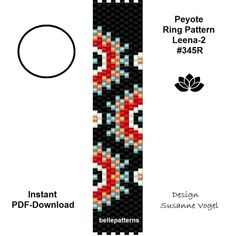 DETAILS: - endless pattern - adjustable ring length Peyote ring pattern Sizes: cm x cm / x (both) - odd count Beads: Miyuki Delica PREVIOUS KNOWLEDGE: Peyote stitch The patterns do not include instructions for how to do the Peyote Stitch Patterns, Loom Patterns, Bracelet Patterns, Beading Patterns, Peyote Beading, Bracelet Wrap, Bracelets, Diy Schmuck, Jewelry Making