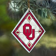 The Memory Company Oklahoma Sooners Art-Glass Ornament. Hand-painted ornament makes a great stocking stuffer gift. Watch the Sooner Gift Guide show airings on 11/23 at 10p & 11/25 at 3p on Fox Sports OK & 11/29 at 9p on Fox Sports Southwest for exclusive discounts on this product! #soonergiftguide