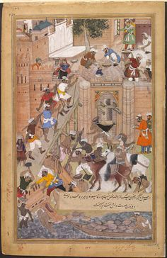 Akbarnama  construction of the fort at Agra for the Mughal emperor Akbar (r.1556–1605). The fort was completed in 1566 and enclosed an area of 2 kilometres. by Tulsi (the Younger)  Miskin  VA
