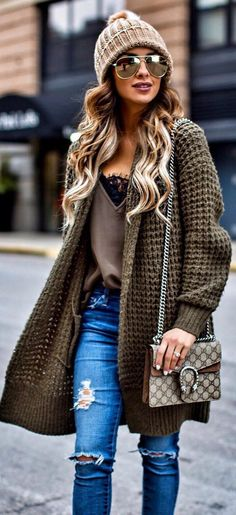 #winter #fashion / Army Wool Cardigan / Ripped Jeans / Brown Beanie