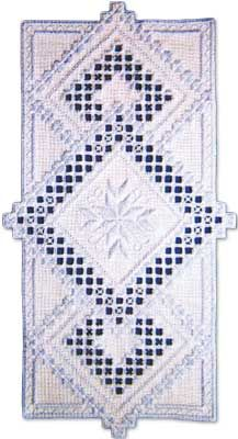 """There arent any storm clouds in this pretty Blue Skies design.  Stitches include kloster variations, cable stitch, double running stitch, and eyelets.  Finished size is 8"""" x 15.5"""" on 22-count.  Supplies required:  22-count Antique White Ariosa (3409-101)   Size 8 Pearl Cotton: Light Blue"""