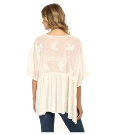 Make sure to sign up for our newsletter! We run random sales at random times for short time frames for up to 75% off! Please read everything! Thanks 🙂 Returns: 5 days to NOTIFY US and with FTC tag attached, then 30 days. Lightweight kaftan features embroidered sheer sleeves and back for a feminine contrast. V-neckline