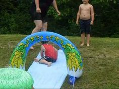 Making summer memories outside on the water slide #YesMemory