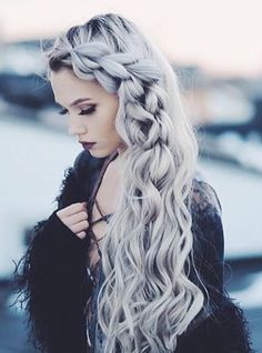 Beautiful braid goes amazingly with the shade of her dye