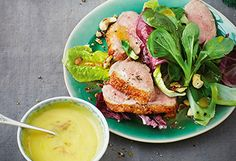 Entenbrust-Salat mit Nüssen und Orangenmayonnaise Mayonnaise, Snacks, Salmon Burgers, Avocado Toast, Brunch, Yummy Food, Breakfast, Ethnic Recipes, Kitchens