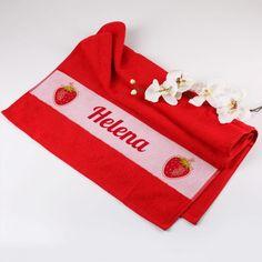 Handtuch mit Erdbeer-Aufdruck und Name | geschenke-online.de