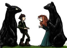 brave Merida and bear Elanor and how to train your dragon Hiccup and Toothless meet