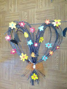 Faág+virágok Tavasz Ajtódísz