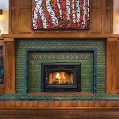 Arts And Crafts For Teens, Art And Craft Videos, Arts And Crafts House, Home Crafts, Craft House, Fireplace Art, Fireplace Surrounds, Fireplace Design, Fireplaces