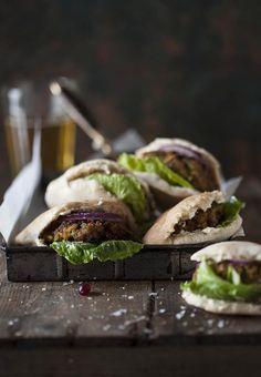 Pork burger sliders in pita bread | DrizzleandDip.com