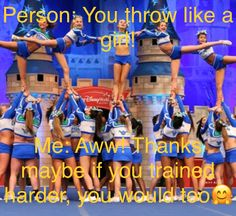 You want to show those skills and work as a team to give your fans a reason to cheer. Cheerleading Workouts, Cheer Tryouts, Cheerleading Photos, Cheer Stunts, Cheer Dance, Funny Cheer Quotes, Cheer Qoutes, Cheer Funny, Funny Cheerleader