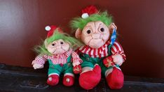 Norfin Troll Plush H Parachute Holiday Christmas Dolls Red Striped Green Christmas Holidays, Xmas, Christmas Ornaments, Red Stripes, Troll, Plush, Holiday Decor, Green, Vintage