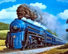 """the-outer-topic: """" 1956 President Adams 1956 The B&O's Cincinattian led by No. """"The President Adams"""", a streamlined Pacific style locomotiv """" Train Posters, Choo Choo Train, Bonde, Autumn Scenes, Train Art, Train Pictures, Old Trains, Train Engines, Steam Engine"""