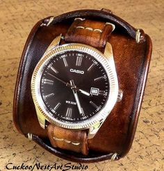 Leather Cuff Watch Cuff Men's Leather Watch by CuckooNestArtStudio, $289.00 Sale! Up to 75% OFF! Shop at Stylizio for women's and men's designer handbags, luxury sunglasses, watches, jewelry, purses, wallets, clothes, underwear