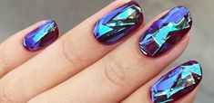 When you want a look that is purely dazzling with super eye-catching shimmer and shine, consider this shattered glass jewel nail art style.