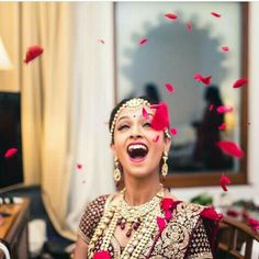 Happy brides are the prettiest. Maroon Saree, Modern Classic, Diaries, Blush Pink, Little Girls, Brides, Indian, Pretty, Happy