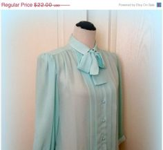 by It's All Good Resale on Etsy March Baby, Blouse Vintage, Classic Looks, Etsy Vintage, Ready To Wear, Aqua, Dress Up, Girly, Ethereal