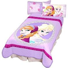 "She's been singing the soundtrack all morning and all afternoon, so decorate her room for bedtime with this Disney ""Frozen"" girl's blanket.  With screen-print graphics that feature her favorite princesses, Anna and Elsa, this blanket will keep her feeling cozy and happy, while you take a break from hearing those hit songs, at least until she wakes up."