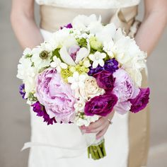Dark and light peonies accented with stephanotis.